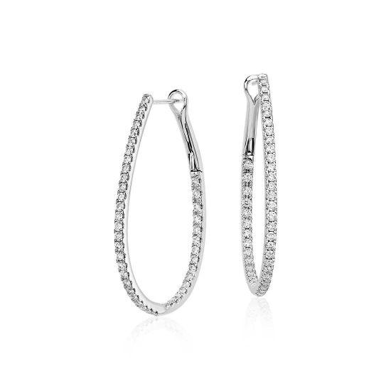 Серьги кольца с белыми бриллиантами 1 карат, Больше Изображение 1