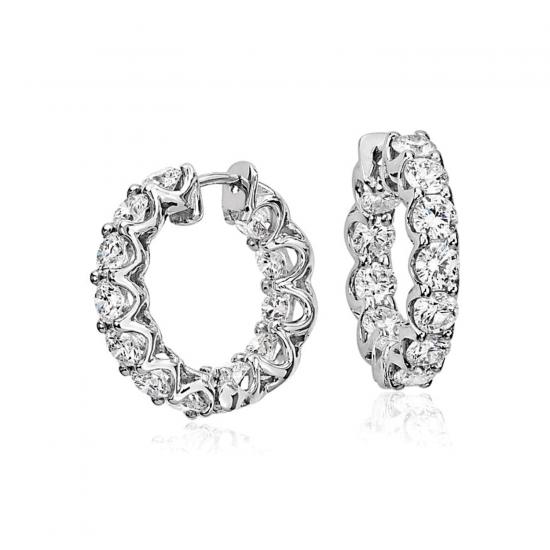 Маленькие серьги кольца с бриллиантами, Больше Изображение 1
