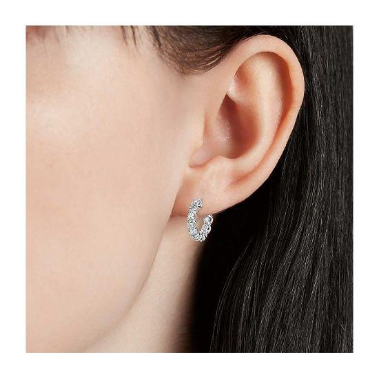 Маленькие серьги кольца с бриллиантами,  Больше Изображение 2