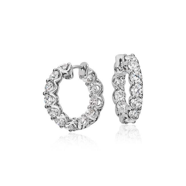 Маленькие серьги кольца с бриллиантами - Фото 2