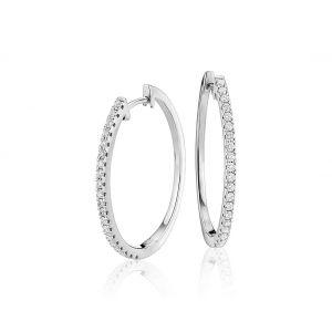 Серьги тонкие овальные кольца с бриллиантами