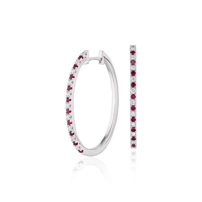 Серьги кольца с рубинами
