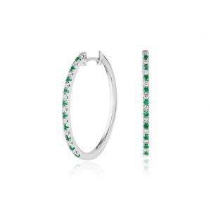 Тонкие серьги колечки с бриллиантами и изумрудами