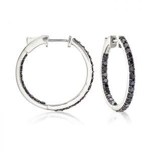 Серьги кольца с черными бриллиантами