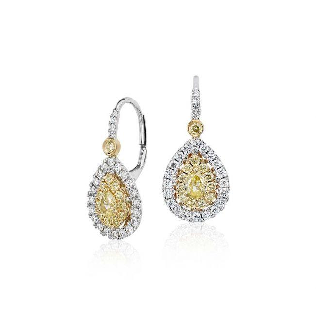 Висячие серьги с желтыми и белыми бриллиантами