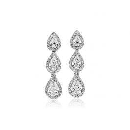 Длинные серьги люстры с белыми бриллиантами