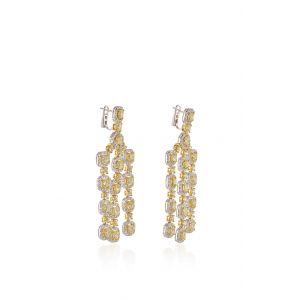Длинные серьги люстры с желтыми и белыми бриллиантами