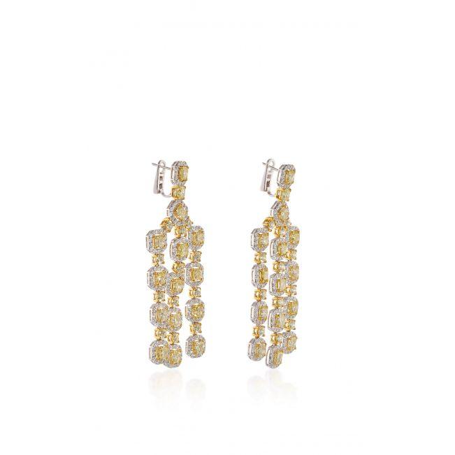 Длинные серьги люстры с желтыми и белыми бриллиантами - Фото 1