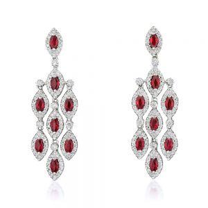 Длинные серьги люстры с рубинами и белыми бриллиантами
