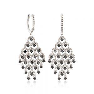 Серьги шандельеры с черными и белыми бриллиантами