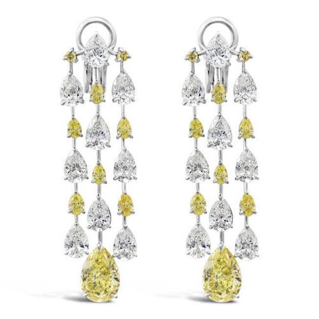 Роскошные серьги люстры с желтыми и белыми бриллиантами