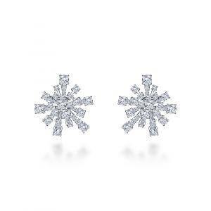Серьги снежинки с белыми бриллиантами на английском замке