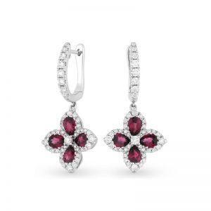 Серьги малинки с бриллиантами и рубинами