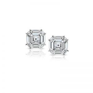 Серьги пусеты с бриллиантами формы Ашер