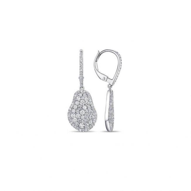 Серьги малинка в форме груши с бриллиантами