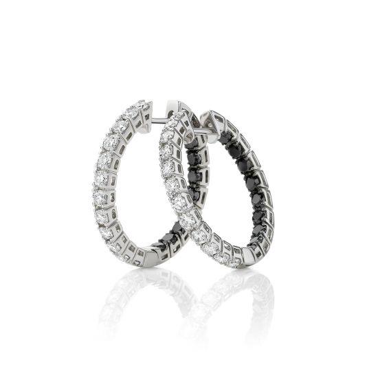 Серьги кольца с белыми и черными бриллиантами, Больше Изображение 1