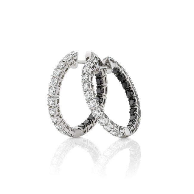 Серьги кольца с белыми и черными бриллиантами