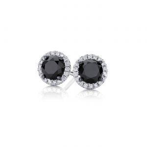 Серьги пусеты с черными круглыми бриллиантами в ореоле