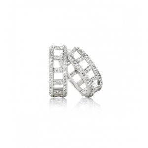 Круглые серьги с двумя дорожками из белых бриллиантов