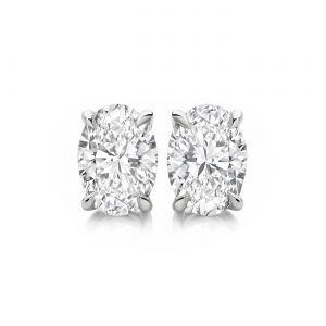 Серьги пусеты с овальными белыми бриллиантами