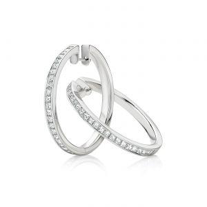 Серьги кольца небольшие с белыми бриллиантами