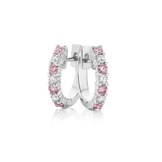 Серьги кольца с белыми и розовыми бриллиантами, Больше Изображение 1
