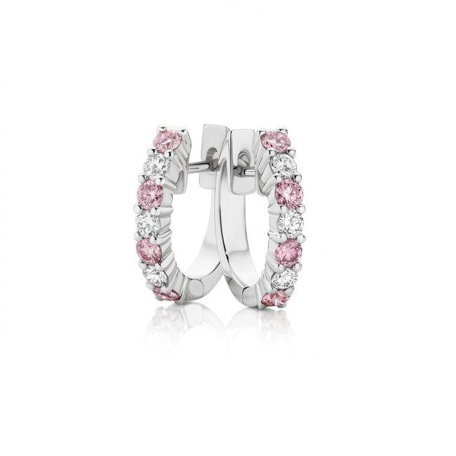 Серьги кольца с белыми и розовыми бриллиантами