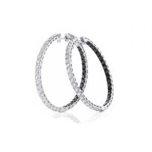 Серьги кольца с черными и белыми бриллиантами