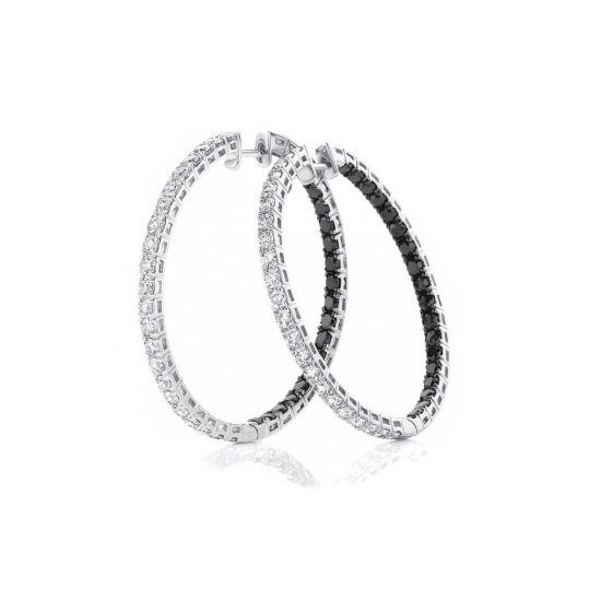 Серьги кольца с черными и белыми бриллиантами, Больше Изображение 1