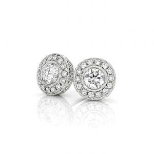 Серьги гвоздики с бриллиантами в винтажном ореоле