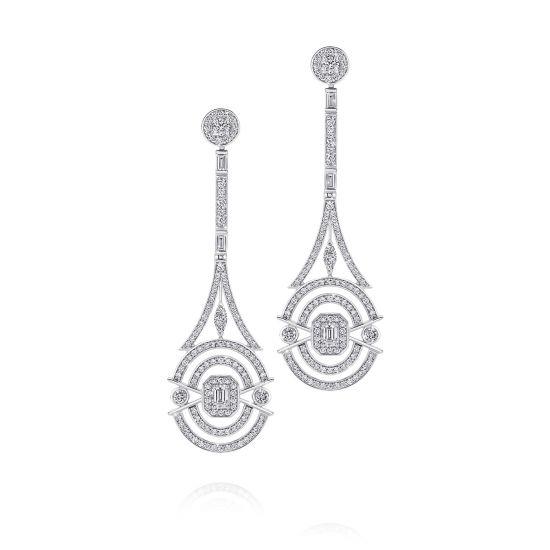 Длинные дизайнерские серьги с бриллиантами, Больше Изображение 1