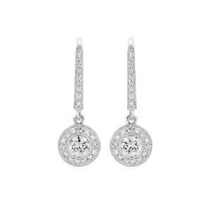 Длинные серьги с круглыми бриллиантами в ореоле