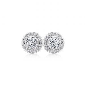 Серьги гвоздики с круглыми бриллиантами в ореоле