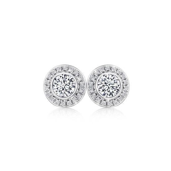 Серьги гвоздики с круглыми бриллиантами в ореоле, Больше Изображение 1
