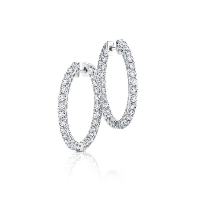 Серьги кольца с белыми бриллиантами