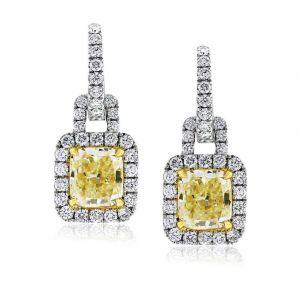 Серьги с желтыми бриллиантами в стиле ар-деко