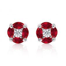 Серьги пусеты с рубинами маркиз и бриллиантами