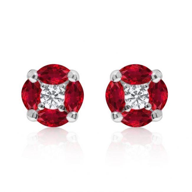 Серьги пусеты с бриллиантами и рубинами