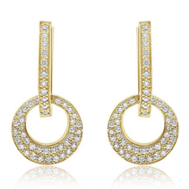 Серьги золотые колечки с бриллиантами