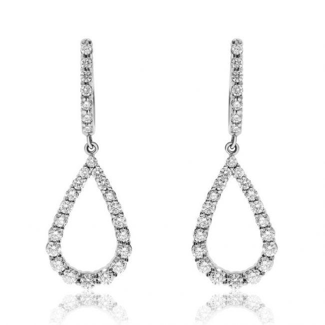Длинные серьги в виде капли с бриллиантами