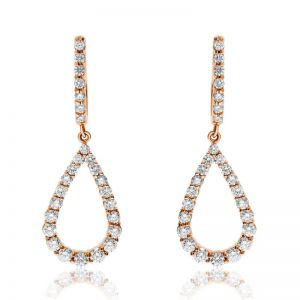 Длинные серьги капли с бриллиантами