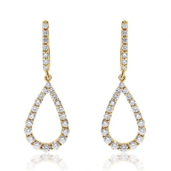 Длинные серьги в форм капли с бриллиантами