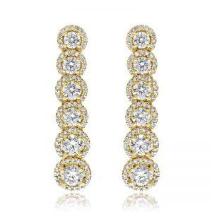Длинные серьги с белыми бриллиантами