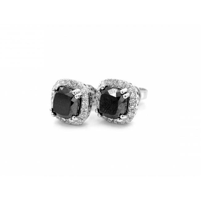 Серьги пусеты с квадратными черными бриллиантами в ореоле