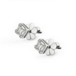 Дизайнерские серьги пусеты с квадратными белыми бриллиантами