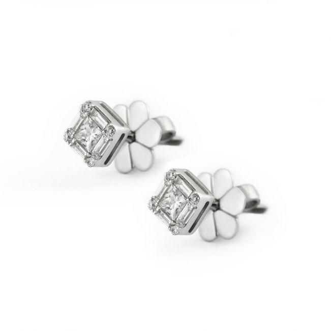 Дизайнерские серьги пусеты с квадратными белыми бриллиантами - Фото 1
