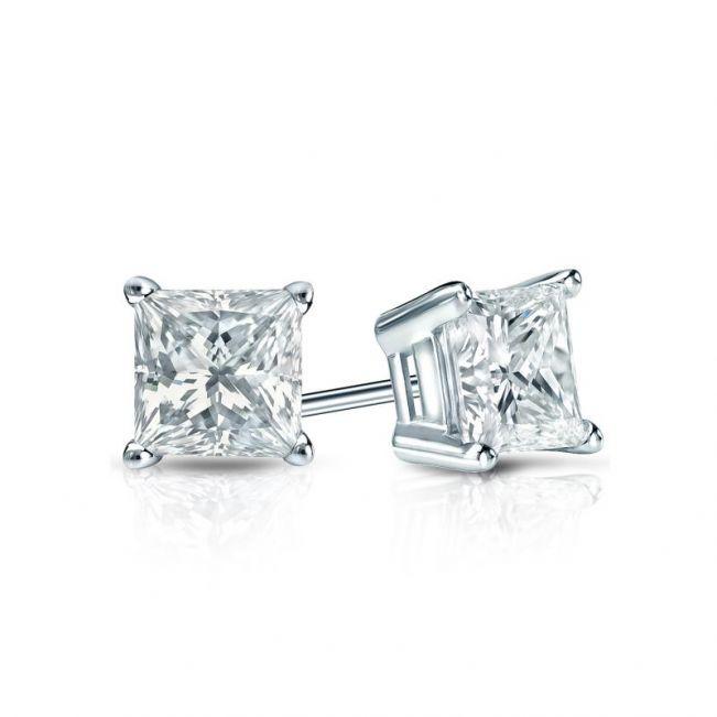 Серьги пусеты с квадратными белыми бриллиантами