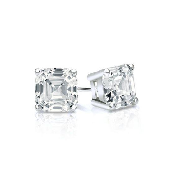 Серьги пусеты с бриллиантами огранки Ашер, Больше Изображение 1