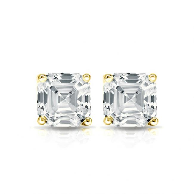 Серьги пусеты с белыми бриллиантами огранки «ашер»
