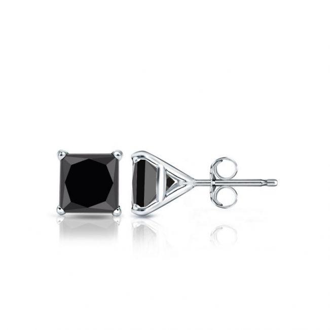 Серьги пусеты с черными бриллиантами Квадрат